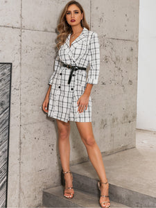 DRESS Plaid Double Breasted Blazer Dress Without Belted - EK CHIC
