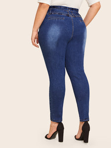 JEANS Plus Paperbag Waist Belted Jeans - EK CHIC