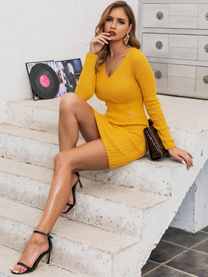 DRESSES Yellow Double Button Detail Bodycon Sweater Dress - EK CHIC