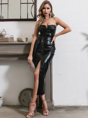 DRESSES Black Split Thigh Belted PU Leather Tube Dress - EK CHIC
