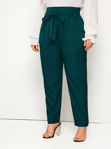 PANTS Plus Solid Wide Band Belted Pants - EK CHIC