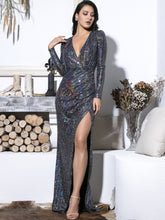 Load image into Gallery viewer, DRESS Plunge Neck Split Thigh Sequin Maxi Dress - EK CHIC