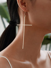 Load image into Gallery viewer, JEWELRY Cross Drop Earrings 1pair - EK CHIC