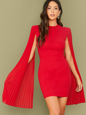 DRESS Pleated Cloak Sleeve Bodycon Cape Dress - EK CHIC
