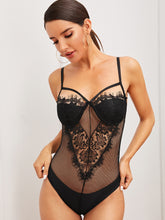 Load image into Gallery viewer, LINGERIE Eyelash Floral Lace Fishnet Teddy Bodysuit - EK CHIC