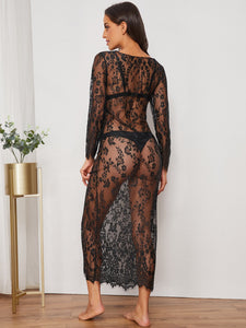LINGERIE Eyelash Floral Lace Sheer Dress With Thong - EK CHIC