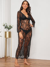 Load image into Gallery viewer, LINGERIE Eyelash Floral Lace Sheer Dress With Thong - EK CHIC