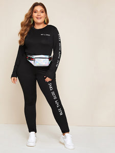 TWO PIECE SET Plus Letter Graphic Tee With Leggings Without Bag - EK CHIC