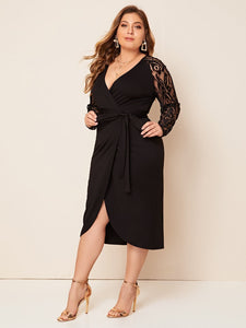DRESS Plus Lace Sleeve Self Belted Wrap Dress - EK CHIC
