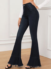 Load image into Gallery viewer, JEANS Raw Hem Flare Leg Jeans - EK CHIC