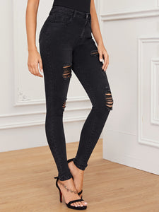 JEANS Black Wash Distressed Skinny Jeans - EK CHIC