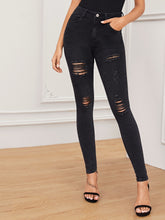 Load image into Gallery viewer, JEANS Black Wash Distressed Skinny Jeans - EK CHIC
