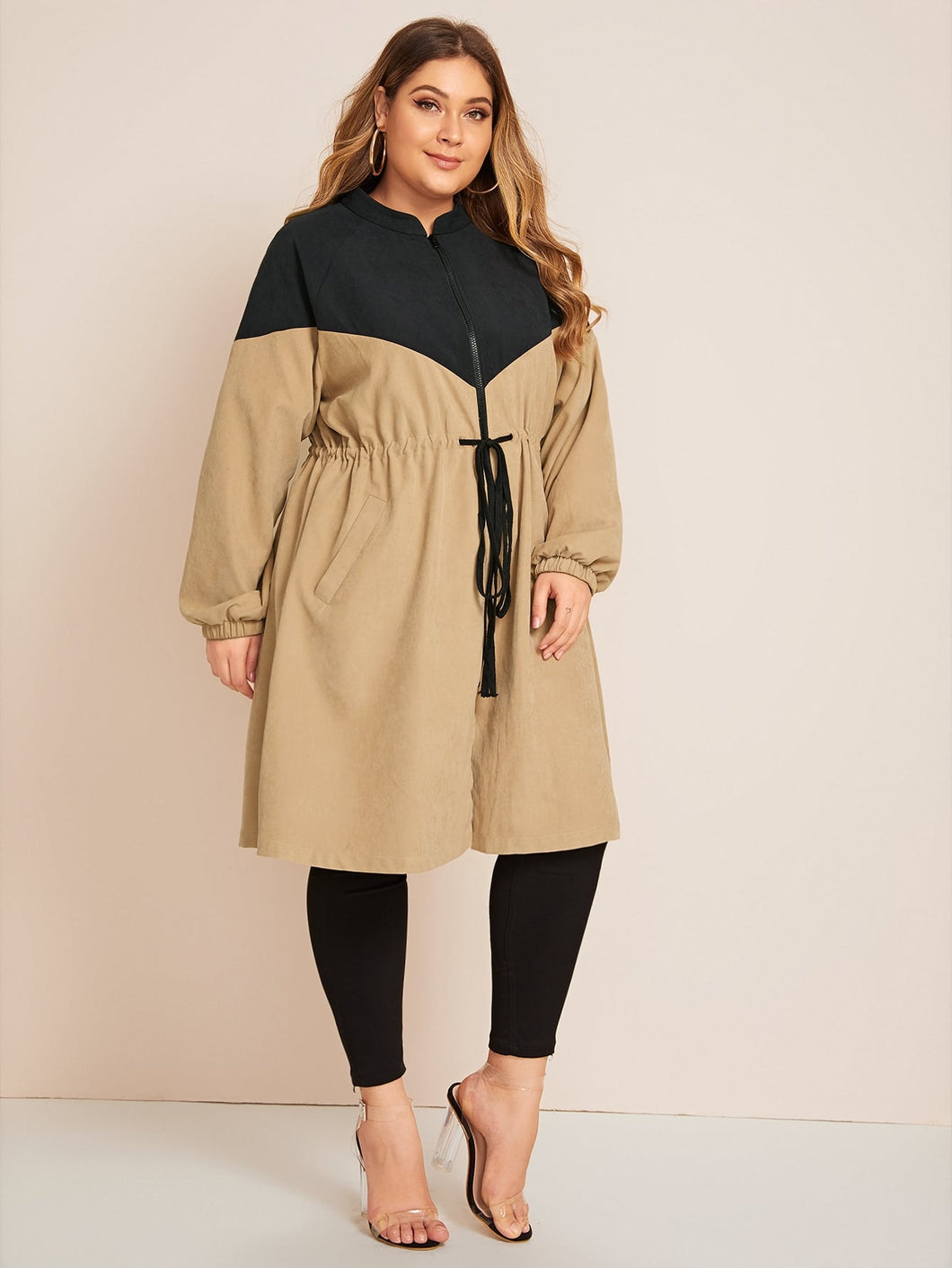 JACKET/COAT Plus Two Tone Drawstring Waist Longline Coat - EK CHIC