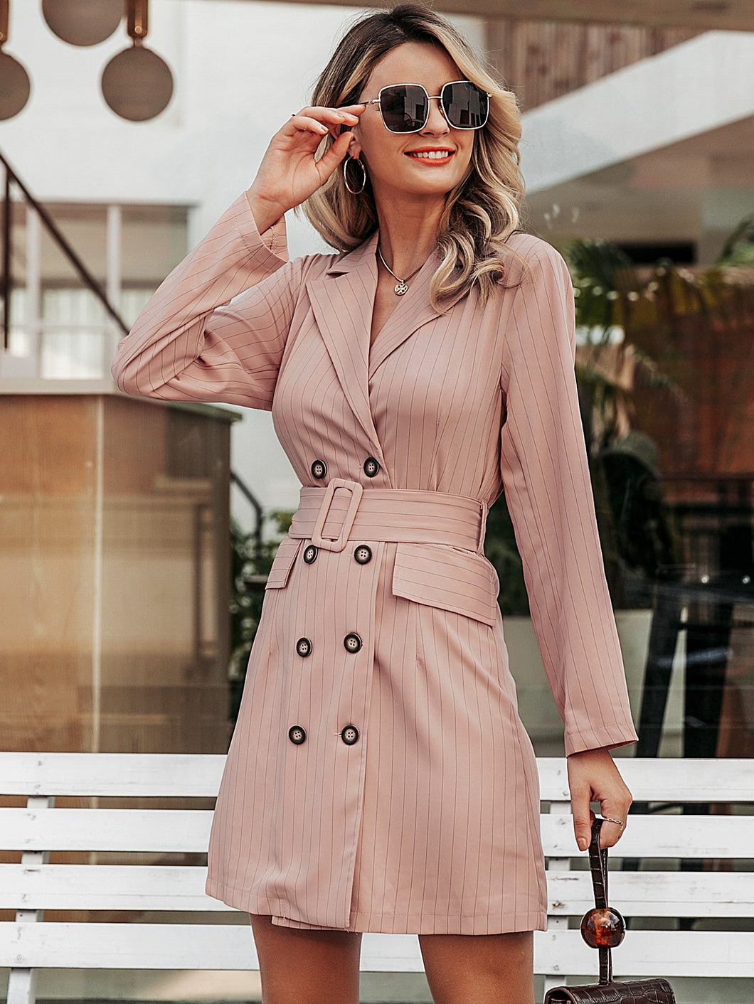 DRESS Simplee Striped Double Breasted Belted Blazer Dress - EK CHIC