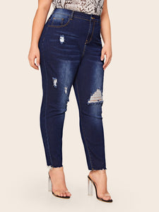 JEANS Plus Ripped Raw Hem Skinny Jeans - EK CHIC