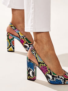 SHOES Point Toe Snakeskin Chunky Heels - EK CHIC