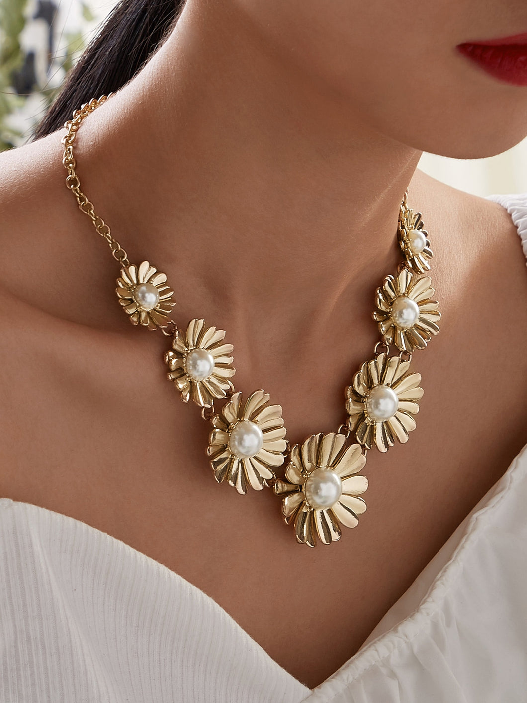 JEWELRY Flower Decor Necklace 1pc - EK CHIC