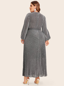 DRESS  Plus Surplice Wrap Belted Pleated Glitter Dress - EK CHIC