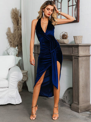 DRESSES Navy Backless Draped Asymmetrical Hem Velvet Dress - EK CHIC