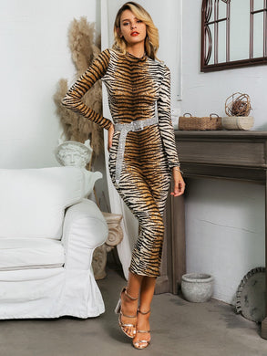 DRESSES Tiger Pattern Bodycon Dress Without Belt - EK CHIC