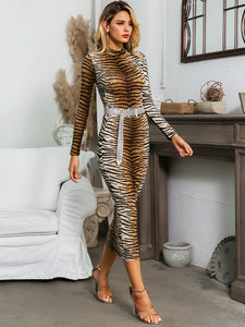DRESS Tiger Pattern Bodycon Dress Without Belt - EK CHIC