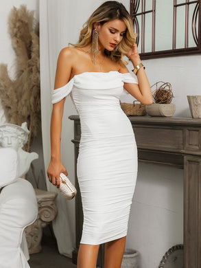 DRESSES White Off Shoulder Ruched Mesh Overlay Dress - EK CHIC