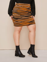Load image into Gallery viewer, SKIRT Plus Tiger Pattern Sweater Skirt - EK CHIC
