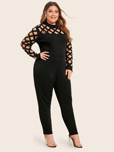 JUMPSUIT Plus Cut Out Zip Back Jumpsuit - EK CHIC
