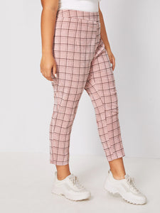 PANTS Plus Grid Corduroy Crop Pants - EK CHIC