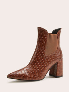 BOOTIES Point Toe Croc Embossed Chunky Boots - EK CHIC