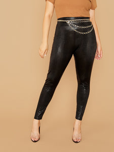 PANTS Plus Wide Waistband Snakeskin Leggings Without Chain - EK CHIC