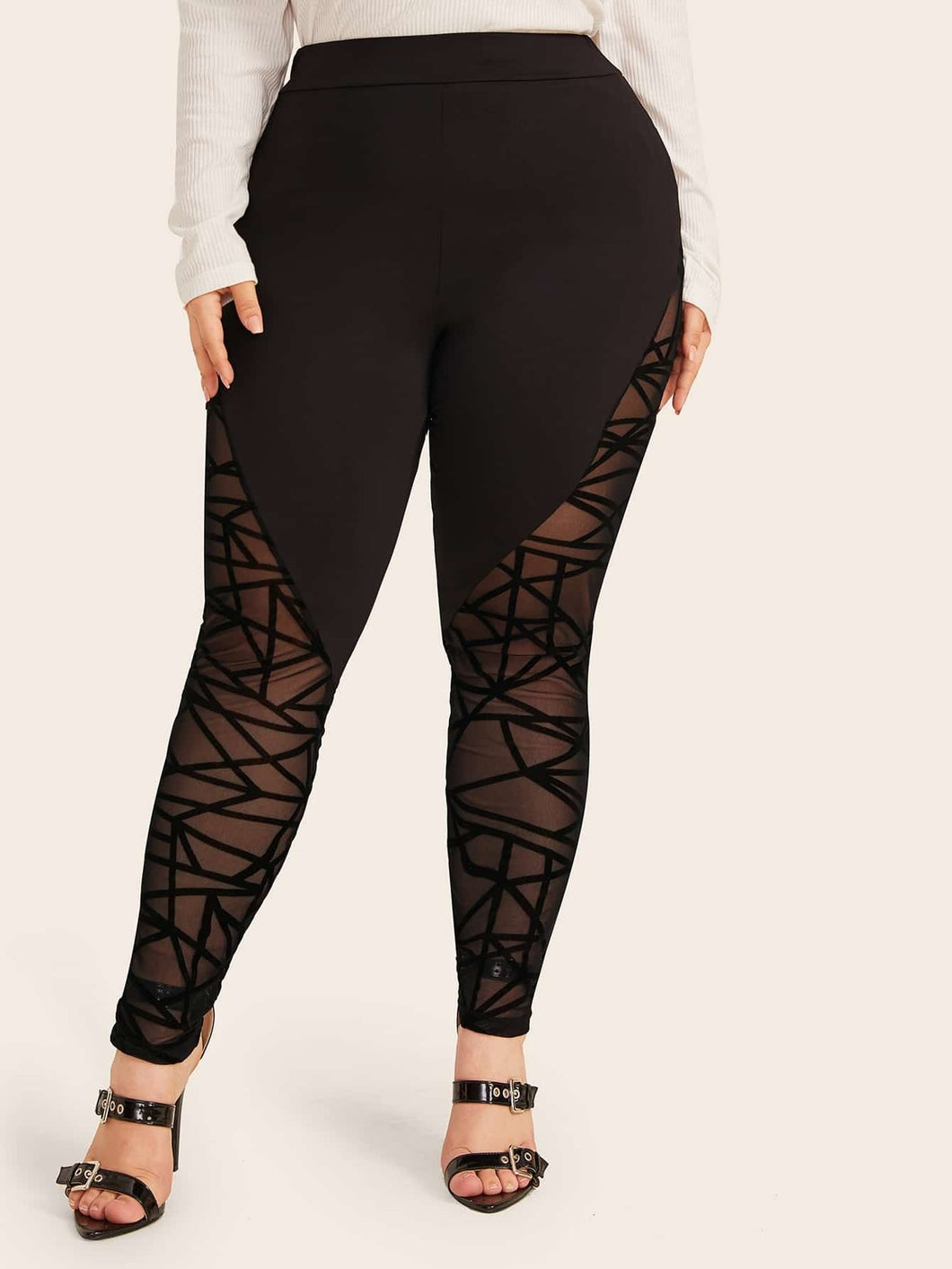LEGGINGS Plus Geo Flocked Mesh Insert Leggings - EK CHIC