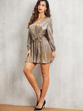 Load image into Gallery viewer, DRESS SBetro Self Belted Wrap Pleated Metallic Dress - EK CHIC