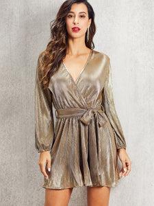 DRESS SBetro Self Belted Wrap Pleated Metallic Dress - EK CHIC