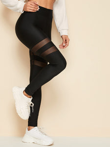 LEGGINGS  Elastic Waist Mesh Insert Leggings - EK CHIC