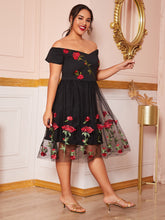 Load image into Gallery viewer, DRESS Plus Embroidery Mesh Overlay Bardot A-line Dress - EK CHIC