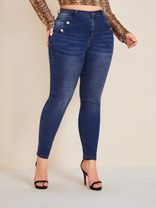 JEANS Plus Buttoned Pocket Skinny Jeans - EK CHIC