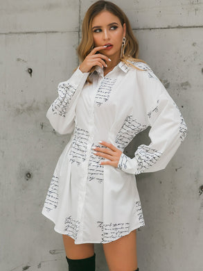 DRESSES White Letter Print Shirt Dress - EK CHIC