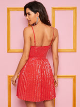 Load image into Gallery viewer, DRESS Pleated Sequin Solid Dress - EK CHIC