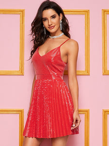 DRESS Pleated Sequin Solid Dress - EK CHIC