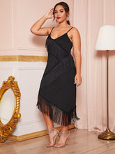 Load image into Gallery viewer, DRESS Plus Fringe Trim Fitted Cami Dress - EK CHIC