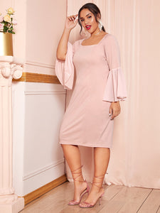 DRESS Plus Solid Square Neck Flounce Sleeve Dress - EK CHIC