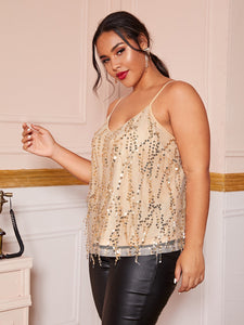 TOPS Plus Contrast Sequins Cami Top - EK CHIC