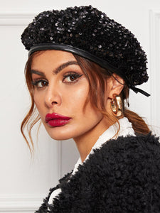 HAT Sequin Decor Beret Hat - EK CHIC