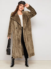 Load image into Gallery viewer, JACKET/COAT Plus Waterfall Double Button Teddy Coat - EK CHIC