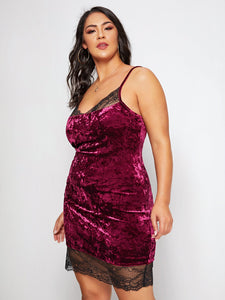 DRESS Plus Lace Trim Velvet Bodycon Dress - EK CHIC