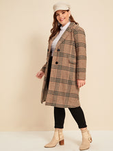 Load image into Gallery viewer, JACKET/COAT Plus Plaid Double-breasted Coat - EK CHIC