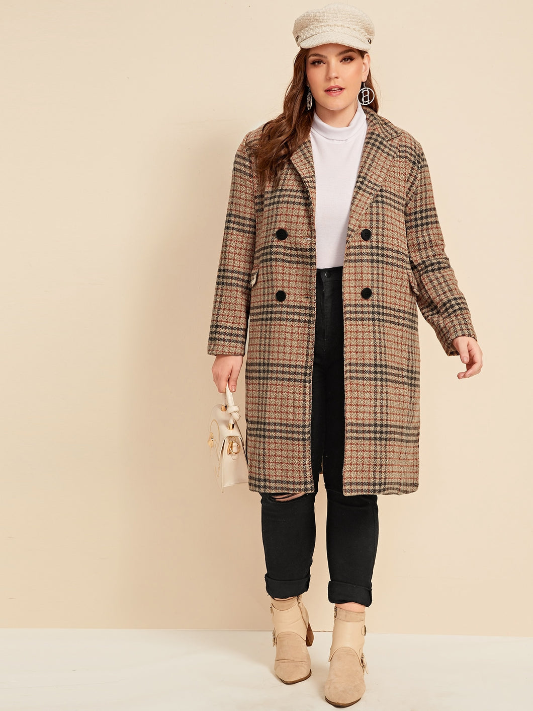 JACKET/COAT Plus Plaid Double-breasted Coat - EK CHIC