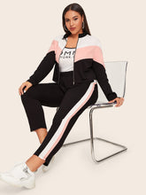 Load image into Gallery viewer, TWO PIECE SUIT Plus Zip Up Colorblock Sweatshirt & Striped Side Pants Set - EK CHIC