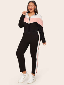 TWO PIECE SUIT Plus Zip Up Colorblock Sweatshirt & Striped Side Pants Set - EK CHIC